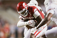 Arkansas quarterback KJ Jefferson (1) carries the ball, Saturday, September 11, 2021 during the third quarter of a football game at Reynolds Razorback Stadium in Fayetteville. Check out nwaonline.com/210912Daily/ for today's photo gallery. <br /> (NWA Democrat-Gazette/Charlie Kaijo)