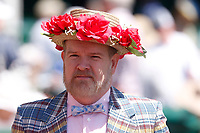 1st May 2021; Kentucky, USA;  Even the guys get into wearing interesting hats during the 147th running of the Kentucky Derby on May 01st, 2021 at Churchill Downs in Louisville,  Kentucky, USA.