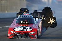 Feb 8, 2020; Pomona, CA, USA; NHRA funny car driver Alexis DeJoria during qualifying for the Winternationals at Auto Club Raceway at Pomona. Mandatory Credit: Mark J. Rebilas-USA TODAY Sports
