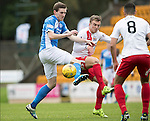 St Johnstone v Kilmarnock…15.10.16.. McDiarmid Park   SPFL<br />Blair Alston battles with Martin Smith<br />Picture by Graeme Hart.<br />Copyright Perthshire Picture Agency<br />Tel: 01738 623350  Mobile: 07990 594431
