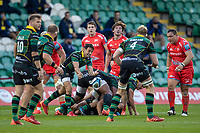 29th September 2020; Franklin Gardens, Northampton, East Midlands, England; Premiership Rugby Union, Northampton Saints versus Sale Sharks; Alex Mitchell of Northampton Saints clears the ball
