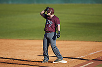 Jakob Divers (2) of the Concord Mountain Lions reacts after a base hit during the game against the Wingate Bulldogs at Ron Christopher Stadium on February 2, 2020 in Wingate, North Carolina. The Mountain Lions defeated the Bulldogs 12-11. (Brian Westerholt/Four Seam Images)