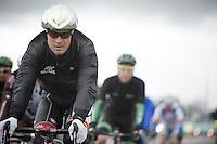 Lars Bak (DNK/Lotto-Belisol) with his rainproof silver helmet<br /> <br /> Giro d'Italia 2014<br /> stage 2: Belfast-Belfast <br /> 219km