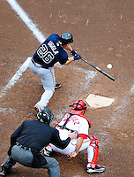 31 March 2011: Atlanta Braves second baseman Dan Uggla in action during Opening Day play against the Washington Nationals at Nationals Park in Washington, District of Columbia. The Braves shut out the Nationals 2-0 to start off the 2011 Major League Baseball season. Mandatory Credit: Ed Wolfstein Photo