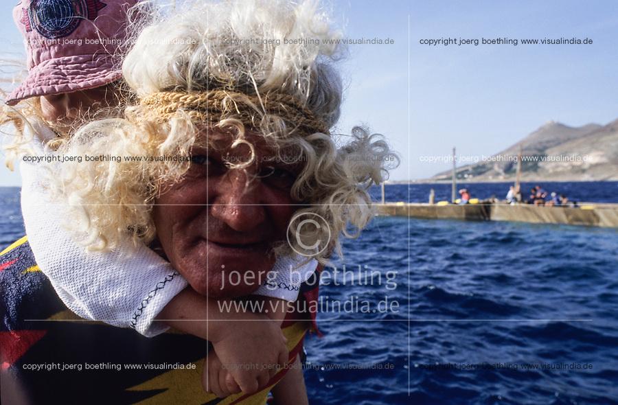 ITALY, Sicily, Egedian island Favignana, La Mattanza, traditional fishing of bluefin Tuna fish, vice rais Clemente Ventrone