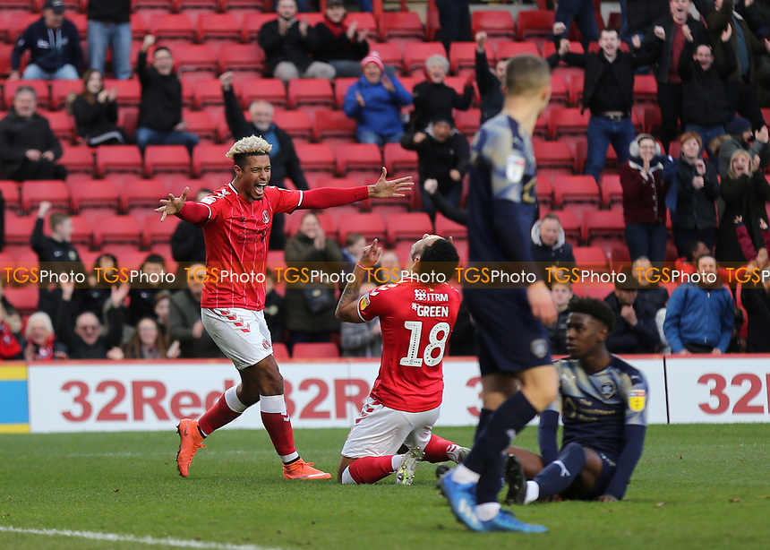 Lyle Taylor scorer of Charlton's opening goal celebrates with Andre Green after he scored their second goal during Charlton Athletic vs Barnsley, Sky Bet EFL Championship Football at The Valley on 1st February 2020