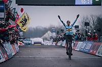 defending World Champion Wout Van Aert (BEL/Crelan-Charles) makes it 3 World Champion titles in a row<br /> <br /> Elite Men's Race<br /> 2018 CX World Championships<br /> Valkenburg - The Netherlands