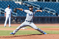 Glendale Desert Dogs starting pitcher Ben Holmes (29), of the Los Angeles Dodgers organization, delivers a pitch during an Arizona Fall League game against the Peoria Javelinas at Peoria Sports Complex on October 22, 2018 in Peoria, Arizona. Glendale defeated Peoria 6-2. (Zachary Lucy/Four Seam Images)