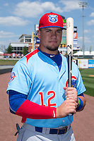 Kyle Schwarber (12) of the Tennessee Smokies poses for a photo prior to the game against the Birmingham Barons at Regions Field on May 3, 2015 in Birmingham, Alabama.  The Smokies defeated the Barons 3-0.  (Brian Westerholt/Four Seam Images)