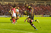 Ugo Monye of Harlequins runs in his first try during the Aviva Premiership match between Harlequins and London Welsh at the Twickenham Stoop on Friday 7th September 2012 (Photo by Rob Munro)