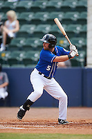 Biloxi Shuckers third baseman Taylor Green (5) at bat during a game against the Birmingham Barons on May 24, 2015 at Joe Davis Stadium in Huntsville, Alabama.  Birmingham defeated Biloxi 6-4 as the Shuckers are playing all games on the road, or neutral sites like their former home in Huntsville, until the teams new stadium is completed in early June.  (Mike Janes/Four Seam Images)