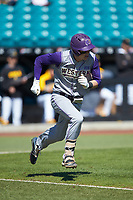 Will Prater (5) of the Western Carolina Catamounts hustles down the first base line against the Kennesaw State Owls at Springs Brooks Stadium on February 22, 2020 in Conway, South Carolina. The Owls defeated the Catamounts 12-0.  (Brian Westerholt/Four Seam Images)