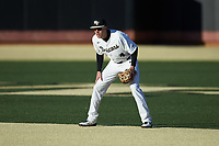 Wake Forest Demon Deacons second baseman DJ Poteet (4) on defense against the Louisville Cardinals at David F. Couch Ballpark on March 7, 2020 in  Winston-Salem, North Carolina. The Demon Deacons defeated the Cardinals 3-2. (Brian Westerholt/Four Seam Images)