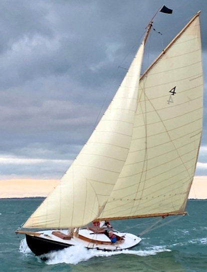 """""""With a bone in her teeth"""" - the restored Dublin Bay 21 Garavogue revelling in Friday evening's breeze to win her class in the RIYC end-of-season race"""