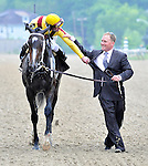 09 May 16:  Calvin Borel and assistant trainer Scott Blasi exchange congratulations after Borel rode filly Rachel Alexandra to victory in the 134th running of the grade 1 Preakness Stakes for three year olds at Pimlico Race Track in Baltimore, Maryland.