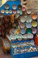 Essaouira, Morocco.  Ceramic Plates for sale.