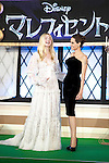 """Elle Fanning, Angelina Jolie Jun 23, 2014 : Tokyo, Japan : (L to R) The actress Elle Fanning and Angelina Jolie appear during the Japan premier for the film """"Maleficent"""" in Yebisu Garden Place on June 23, 2014. The movie will be released on July 5th. (Photo by Rodrigo Reyes Marin/AFLO)"""