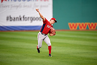 Potomac Nationals left fielder Jack Sundberg (14) throws the ball back into the infield during the first game of a doubleheader against the Salem Red Sox on June 11, 2018 at Haley Toyota Field in Salem, Virginia.  Potomac defeated Salem 9-4.  (Mike Janes/Four Seam Images)