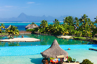 Pool at the Intercontinental Tahiti hotel with Moorea in background Tahiti. French Polynesia