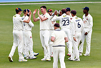 Nathan Gilchrist (3rd L) of Kent is congratulated after taking the wicket of Saif Zaib during Kent CCC vs Northamptonshire CCC, LV Insurance County Championship Group 3 Cricket at The Spitfire Ground on 6th June 2021