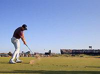 17th July 2021; Royal St Georges Golf Club, Sandwich, Kent, England; The Open Championship Golf, Day Three; Jordan Speith (USA) hits his tee shot at the par three 16th hole