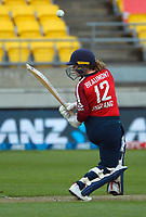 England's Tammy Beaumont bats during the first international women's T20 cricket match between the New Zealand White Ferns and England at Sky Stadium in Wellington, New Zealand on Wednesday, 3 March 2021. Photo: Dave Lintott / lintottphoto.co.nz