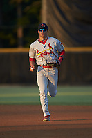 Johnson City Cardinals center fielder Trejyn Fletcher (34) jogs off the field between innings of the game against the Burlington Royals at Burlington Athletic Stadium on September 3, 2019 in Burlington, North Carolina. The Cardinals defeated the Royals 7-2 to even Appalachian League Championship series at one game a piece. (Brian Westerholt/Four Seam Images)