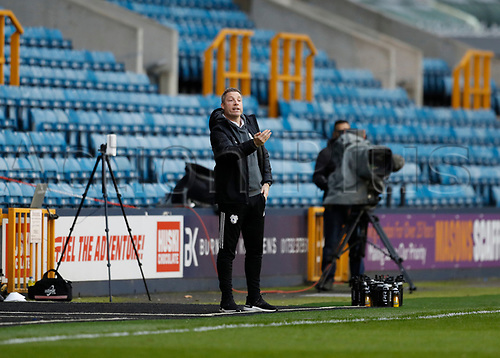 21st November 2020; The Den, Bermondsey, London, England; English Championship Football, Millwall Football Club versus Cardiff City; Cardiff City manager Neil Harris shouts instructions from the touchline