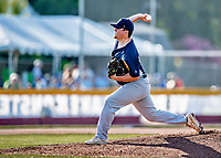 12 June 2021: Westfield Starfires starting pitcher Roland Thivierge, from Portland, CT, on the mound against the Vermont Lake Monsters at Centennial Field in Burlington, Vermont. The Lake Monsters defeated the Starfires 4-1 at Centennial Field, in Burlington, Vermont. Mandatory Credit: Ed Wolfstein Photo *** RAW (NEF) Image File Available ***