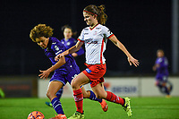 Amber De Priester (6) of Zulte-Waregem pictured in a duel with Kassandra Missipo (12) of Anderlecht during a female soccer game between RSC Anderlecht Dames and SV Zulte Waregem on the 10 th matchday of the 2020 - 2021 season of Belgian Womens Super League , friday 18 th of December 2020  in Tubize , Belgium . PHOTO SPORTPIX.BE | SPP | DAVID CATRY
