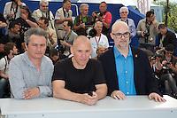 JEAN-MARIE LARRIEU, RADU MUNTEAN, SANTIAGO LOZA - PHOTOCALL DU JURY DE LA CINEFONDATION ET DES COURTS METRAGES, 69EME FESTIVAL DE CANNES