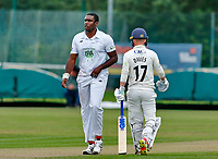 23rd September 2021; Aigburth, Liverpool, Merseyside, England; LV=Country Cricket Championship; Lancashire versus Hampshire; Keith Barker of Hampshire stands tall above Lancashire batsman Alex Davies during his opening spell in the Lancashire second innings