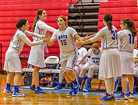 24 November 2015: Yeshiva University Maccabee Forward Julia Owen, a Senior from Seattle, WA, is introduced prior to a game against the College of Mount Saint Vincent Dolphins at the Baruch College ARC Arena Gymnasium, in New York, NY. The Dolphins defeated the Maccabees 67-30 in the NCAA Division III Women's Basketball Skyline matchup. Mandatory Credit: Ed Wolfstein Photo *** RAW (NEF) Image File Available ***