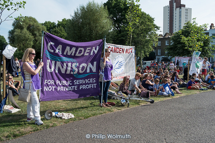 Pupils, parents and teachers at a Camden NUT rally to oppose cuts to school funding, Kentish Town, London.