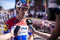 dutch national champion Fabio Jakobsen (NED/Deceuninck Quick Step) with a pre race sporza interview<br /> <br /> 104th Kampioenschap van Vlaanderen 2019<br /> One Day Race: Koolskamp > Koolskamp 186km (UCI 1.1)<br /> ©kramon