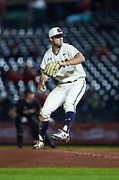 Notre Dame Fighting Irish relief pitcher Matt Vierling (24) in action against the Louisville Cardinals in Game Eight of the 2017 ACC Baseball Championship at Louisville Slugger Field on May 25, 2017 in Louisville, Kentucky. The Cardinals defeated the Fighting Irish 10-3. (Brian Westerholt/Four Seam Images)