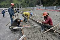 """LA LINEA - COLOMBIA, 29-08-2020: Obras de adecuación a la entrada de los túneles. El túnel principal """"La Línea"""" tiene una longitud de  8,65 km y hace parte de El Túnel de La Línea el proyecto de infraestructura vial más importnate de Colombia que está es fase final de construcción conectará de manera eficiente los departamentos colombianos de Quindío y Tolima. El plan además consta de 24 puentes y 20 túneles de diferentes longitudes. / Adaptation works at the entrance to the tunnels. The main tunnel """"La Línea"""" has a length of 8.65 km and is part of El Túnel de La Línea, the most important road infrastructure project in Colombia, which is in the final phase of construction and will efficiently connect the Colombian departments of Quindío and Tolima. The plan also consists of 24 bridges and 20 tunnels of different lengths. Photo: VizzorImage / Gabriel Aponte / Staff"""