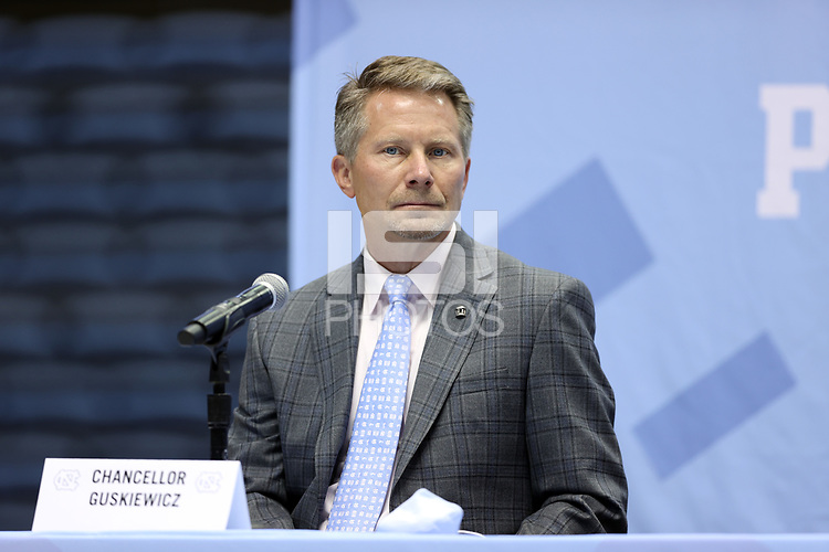 CHAPEL HILL, NC - APRIL 6: UNC Chancellor Kevin Guskiewicz during the Hubert Davis (not pictured) introductory press conference at Dean E. Smith Center on April 6, 2021 in Chapel Hill, North Carolina.