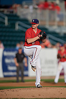 Harrisburg Senators starting pitcher Logan Darnell (19) delivers a pitch during a game against the Akron RubberDucks on August 18, 2018 at FNB Field in Harrisburg, Pennsylvania.  Akron defeated Harrisburg 5-1.  (Mike Janes/Four Seam Images)