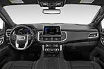 Stock photo of straight dashboard view of 2021 GMC Yukon SLT 5 Door SUV Dashboard