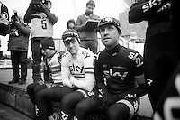 101st Scheldeprijs ..Bernie Eisel (AUT) & Ian Stannard (GBR) trying to keep warm while waiting to go on stage