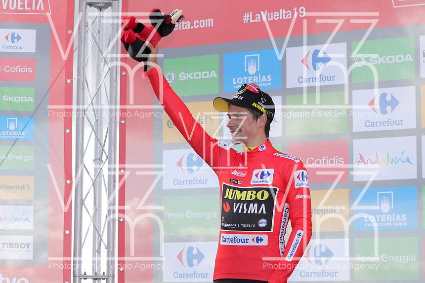 ESPAÑA, 06-09-2019: Primoz Roglic (SLO - JUMBO VISMA) celebra con el maillot rojo líder después de la etapa 13, hoy, 06 de septiembre de 2019, que se corrió entre Bilbao y Los Machucos. Monumento Vaca Pasiega con una distancia de 166,4 km como parte de La Vuelta a España 2019 que se disputa entre el 24/08 y el 15/09/2019 en territorio español. / Primoz Roglic (SLO - JUMBO VISMA) celebrates with the red leader jersey after the stage 13 today, September 06, 2019, from Bilbao to Los Machucos. Monumento Vaca Pasiega with a distance of 166,4 km as part of Tour of Spain 2019 which takes place between 08/24 and 09/15/2019 in Spain.  Photo: VizzorImage / Luis Angel Gomez / ASO.  Photo: VizzorImage / Luis Angel Gomez / ASO.  Photo: VizzorImage / Luis Angel Gomez / ASO.  Photo: VizzorImage / Luis Angel Gomez / ASO<br /> VizzorImage PROVIDES THE ACCESS TO THIS PHOTOGRAPH ONLY AS A PRESS AND EDITORIAL SERVICE AND NOT IS THE OWNER OF COPYRIGHT; ANOTHER USE HAVE ADDITIONAL PERMITS AND IS  REPONSABILITY OF THE END USER