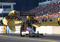 Oct 5, 2013; Mohnton, PA, USA; NHRA top fuel dragster driver Leah Pruett during qualifying for the Auto Plus Nationals at Maple Grove Raceway. Mandatory Credit: Mark J. Rebilas-