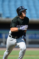 Catcher Jose Lopez (12) of King High School in Tampa, Florida playing for the Colorado Rockies scout team during the East Coast Pro Showcase on August 2, 2013 at NBT Bank Stadium in Syracuse, New York.  (Mike Janes/Four Seam Images)
