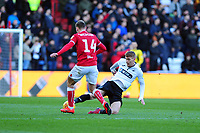 Andreas Weimann of Bristol City is tackled by Jay Fulton of Swansea City during the Sky Bet Championship match between Bristol City and Swansea City at Ashton Gate in Bristol, England, UK. Monday 02 February 2019