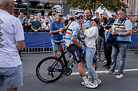 Jasper Stuyven (BEL/Trek Segafredo) comforted by his girlfriend after finishing the unpalatable 4th place<br /> <br /> Men Elite – Road Race (WC)<br /> Race from Antwerp to Leuven (268.3km)<br /> <br /> ©kramon