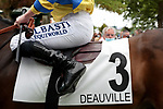 August 15, 2021, Deauville (France) - Saddle cloth for #3 with Jockey Theo Bachelot at the Deauville Racecourse. [Copyright (c) Sandra Scherning/Eclipse Sportswire)]