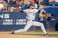 Cal State Fullerton Titans Tommy Wilson (27) delivers a pitch to the plate against the University of Washington Huskies at Goodwin Field on June 09, 2018 in Fullerton, California. The Cal State Fullerton Titans defeated the University of Washington Huskies 5-2. (Donn Parris/Four Seam Images)