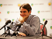 11-02-13, Tennis, Rotterdam, ABNAMROWTT, Persconferentie Roger Federer
