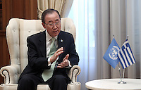 Pictured : Ban Ki-Moon at Megaro Maximou in Athens, Greece. Saturday 18 June 2016<br /> Re: The United Nations secretary-general is visiting Greece, ahead of talks with government officials and a trip to the island of Lesbos, which is at the forefront of Greece's immigration crisis.<br /> Ban Ki-moon met with officials and volunteers at the Solidarity Now group, which helps victims of Greece's financial crisis and migrants stuck in the country.<br /> He has also visited Greek President Procopis Pavlopoulos before travelling camps on Lesbos island where 3,400 refugees and other migrants live.